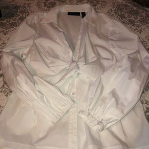 NWOT INC white long sleeved tie front shirt